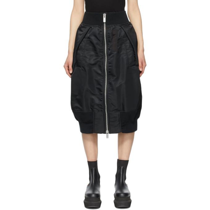 Sacai Black Nylon Zip-Up Bomber Skirt