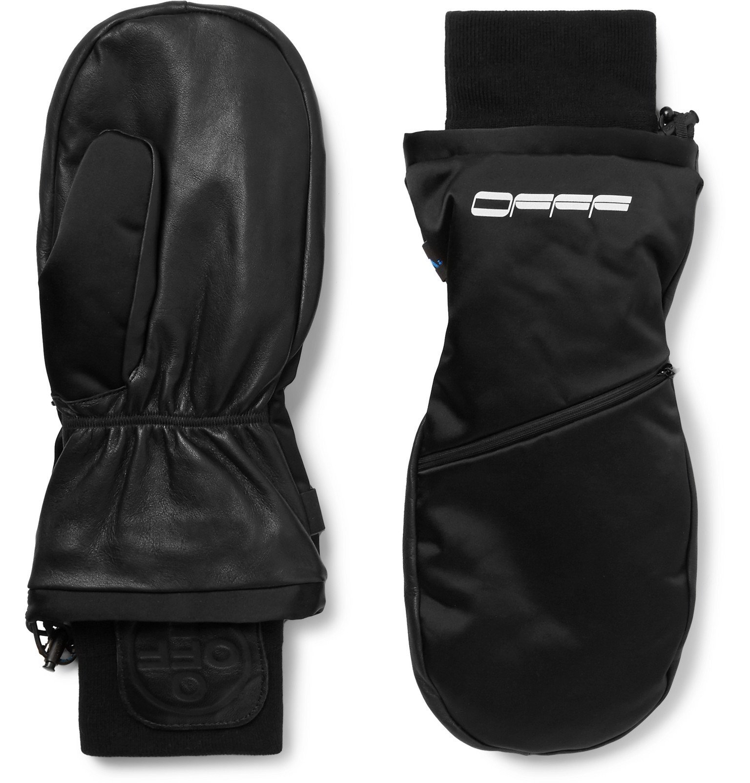 Photo: Off-White - Printed Shell and Leather Mittens - Black