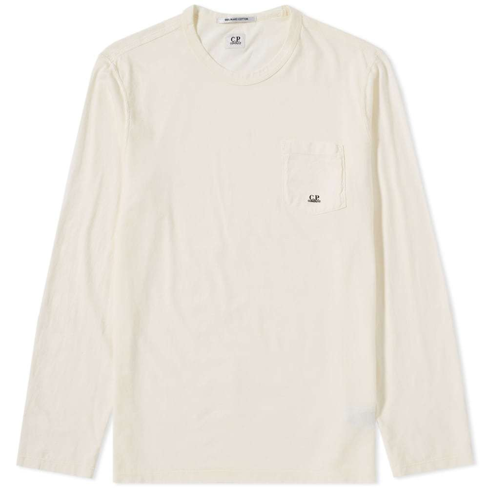 C.P. Company Long Sleeve Pocket LogoTee White