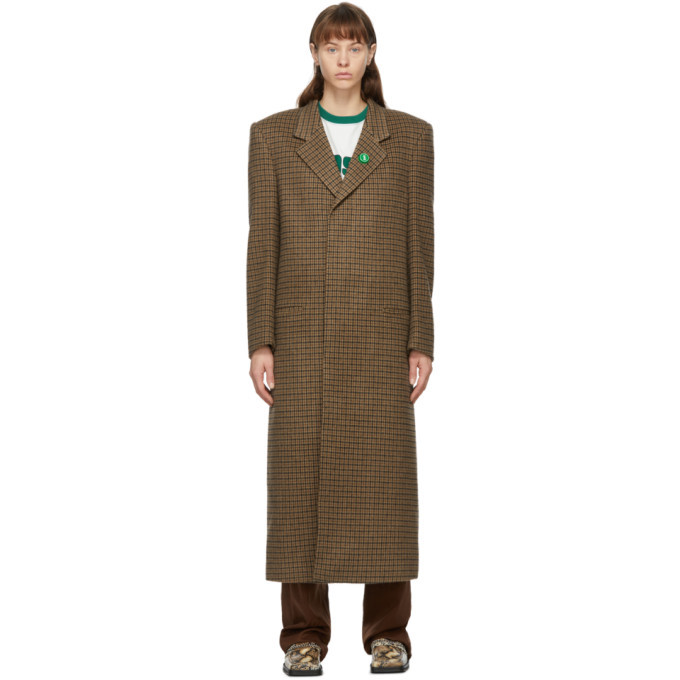 Martine Rose Brown Wool Houndstooth Rex Coat