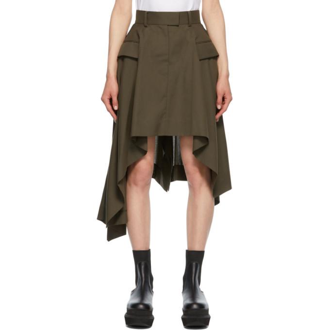 Sacai Khaki Asymmetric Draped Suiting Skirt
