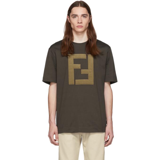 Photo: Fendi Brown Logo T-Shirt