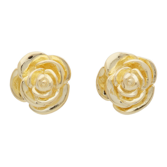 Photo: Stolen Girlfriends Club Gold Rose Bud Earrings