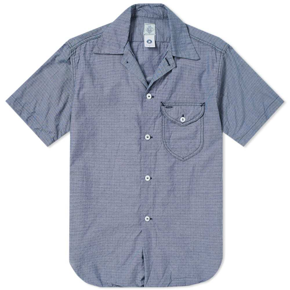 Photo: Post Overalls Short Sleeve Eazy Cruize 5 Washed Out Dobby Shirt Blue