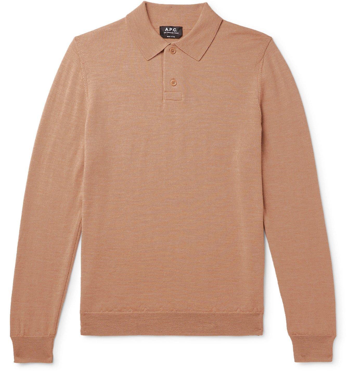 Photo: A.P.C. - Jerry Merino Wool Polo Shirt - Neutrals
