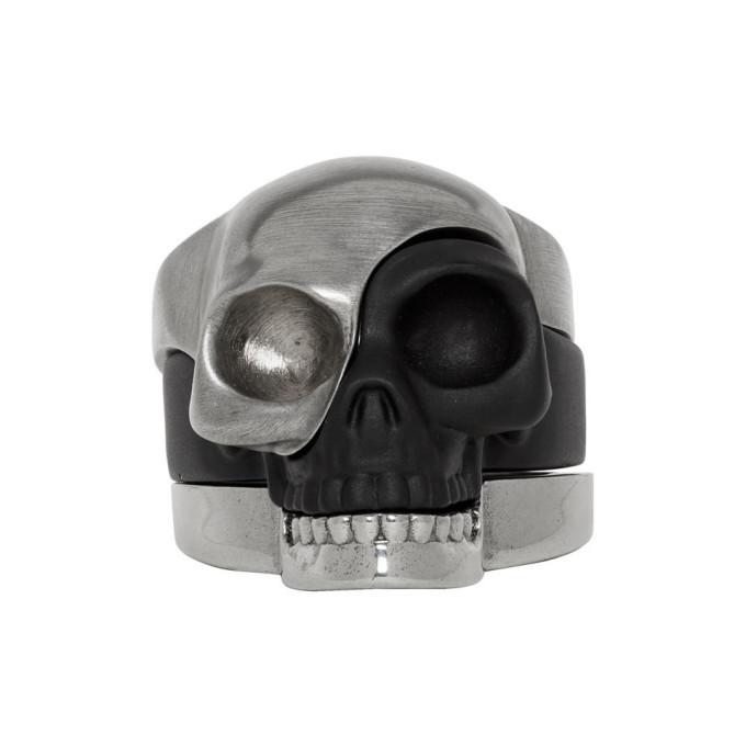 Photo: Alexander McQueen Gunmetal and Black Divided Skull Ring Set