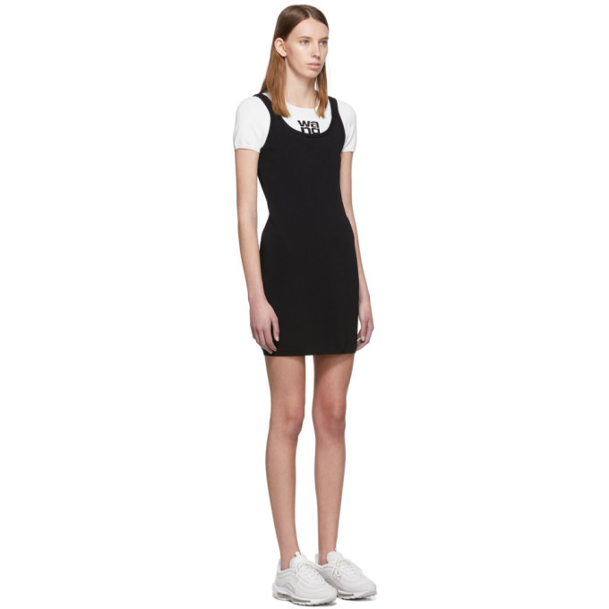 alexanderwang.t White and Black Sport Layering Logo Mini Dress