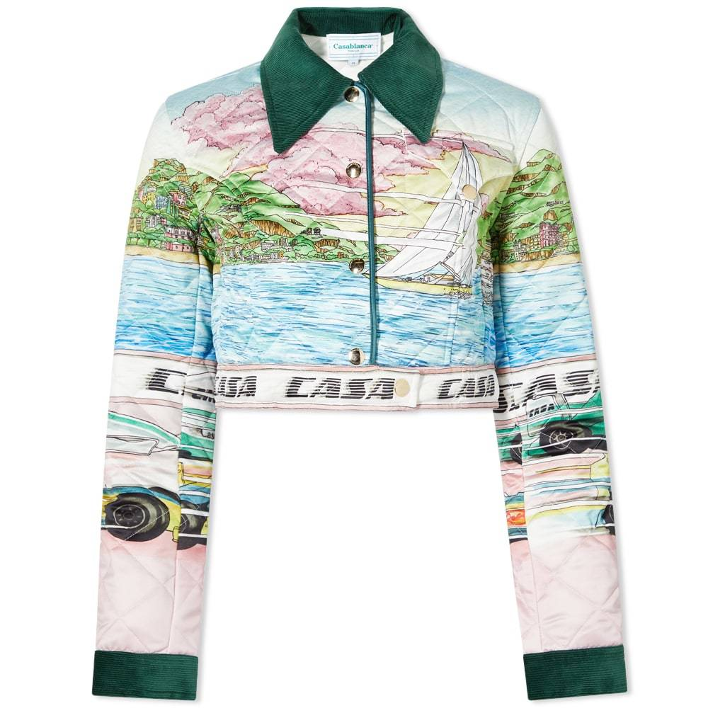Photo: Casablanca Printed Quilted Satin Cropped Jacket