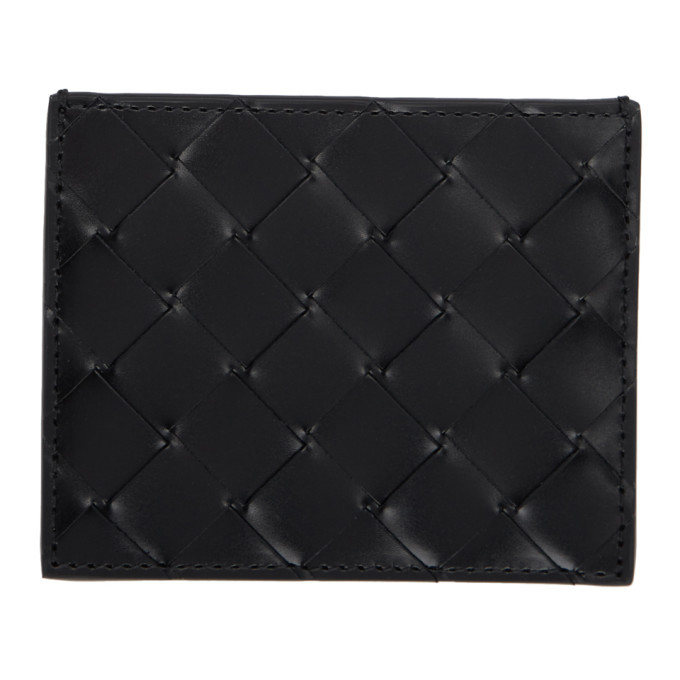 Photo: Bottega Veneta Black Intrecciato Spazzolato Card Holder