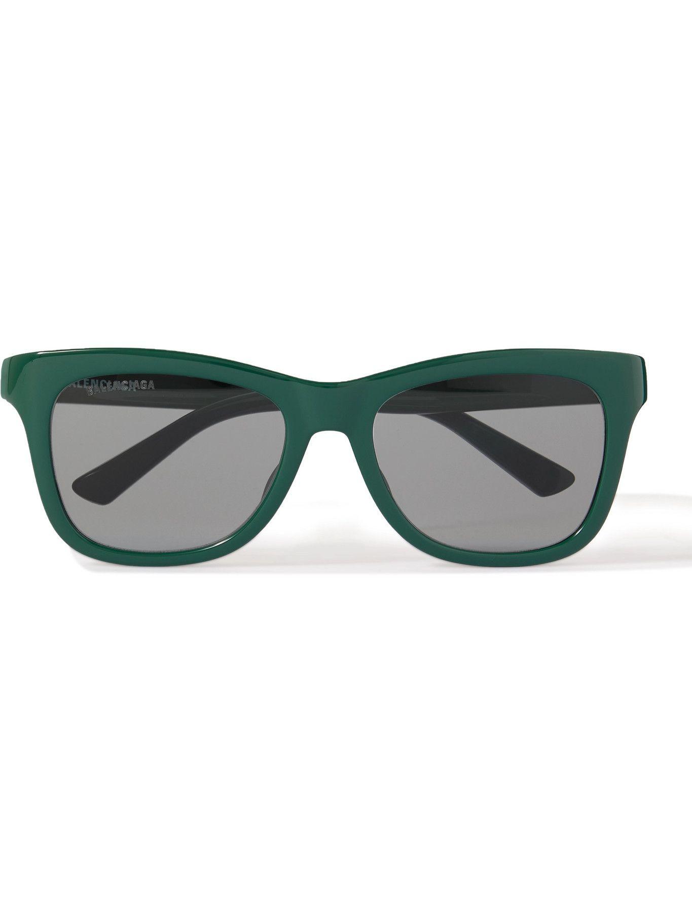 Photo: BALENCIAGA - Square-Frame Logo-Print Acetate Sunglasses