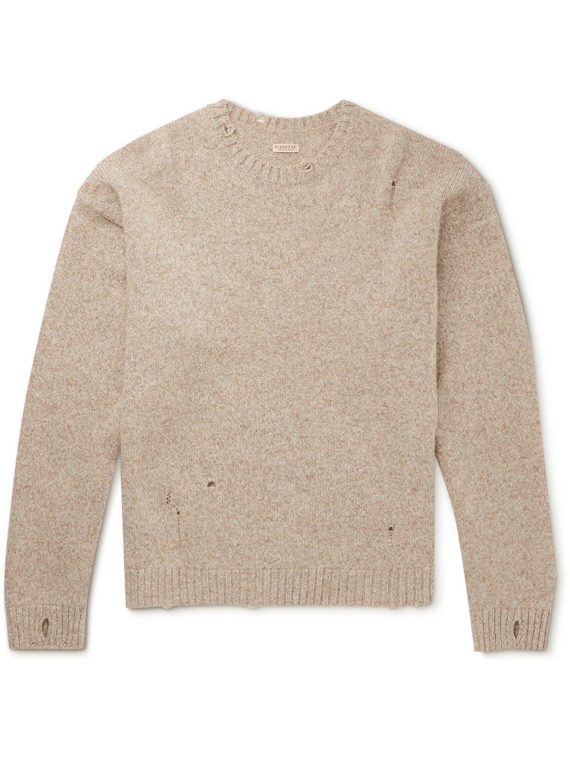 Photo: KAPITAL - Distressed Intarsia Wool Sweater - Neutrals