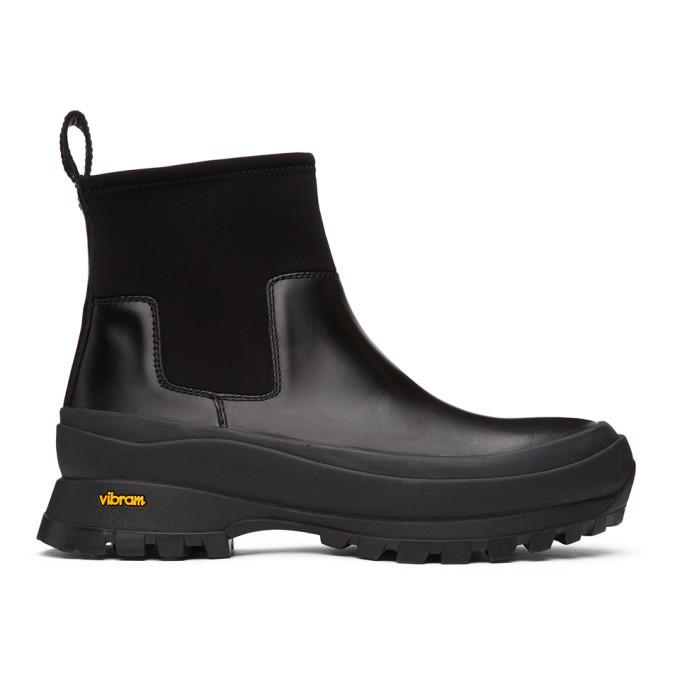 Photo: Jil Sander Black Neoprene Rain Chelsea Boots