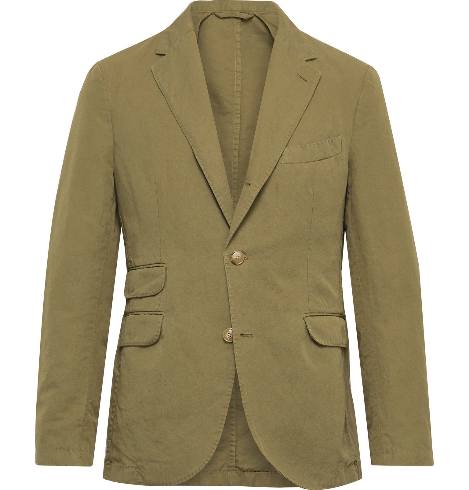 Photo: MAN 1924 - Kennedy Unstructured Linen and Cotton-Blend Suit Jacket - Green