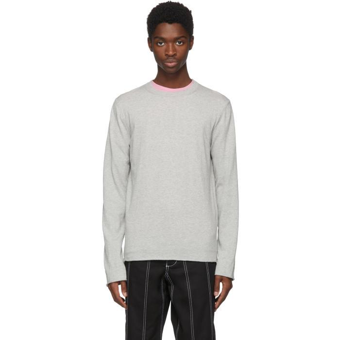 Photo: Comme des Garçons Shirt Grey Cotton Crewneck Sweater
