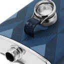 Dunhill - 6oz Cadogan Printed Full-Grain Leather and Stainless Steel Flask - Men - Blue