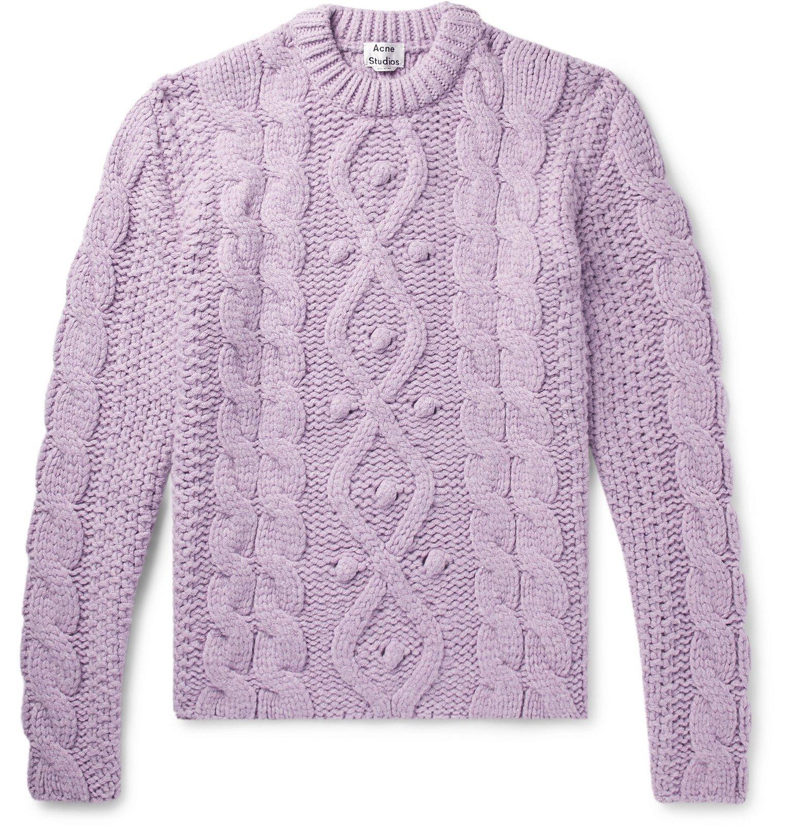 Photo: Acne Studios - Oversized Cable-Knit Sweater - Purple
