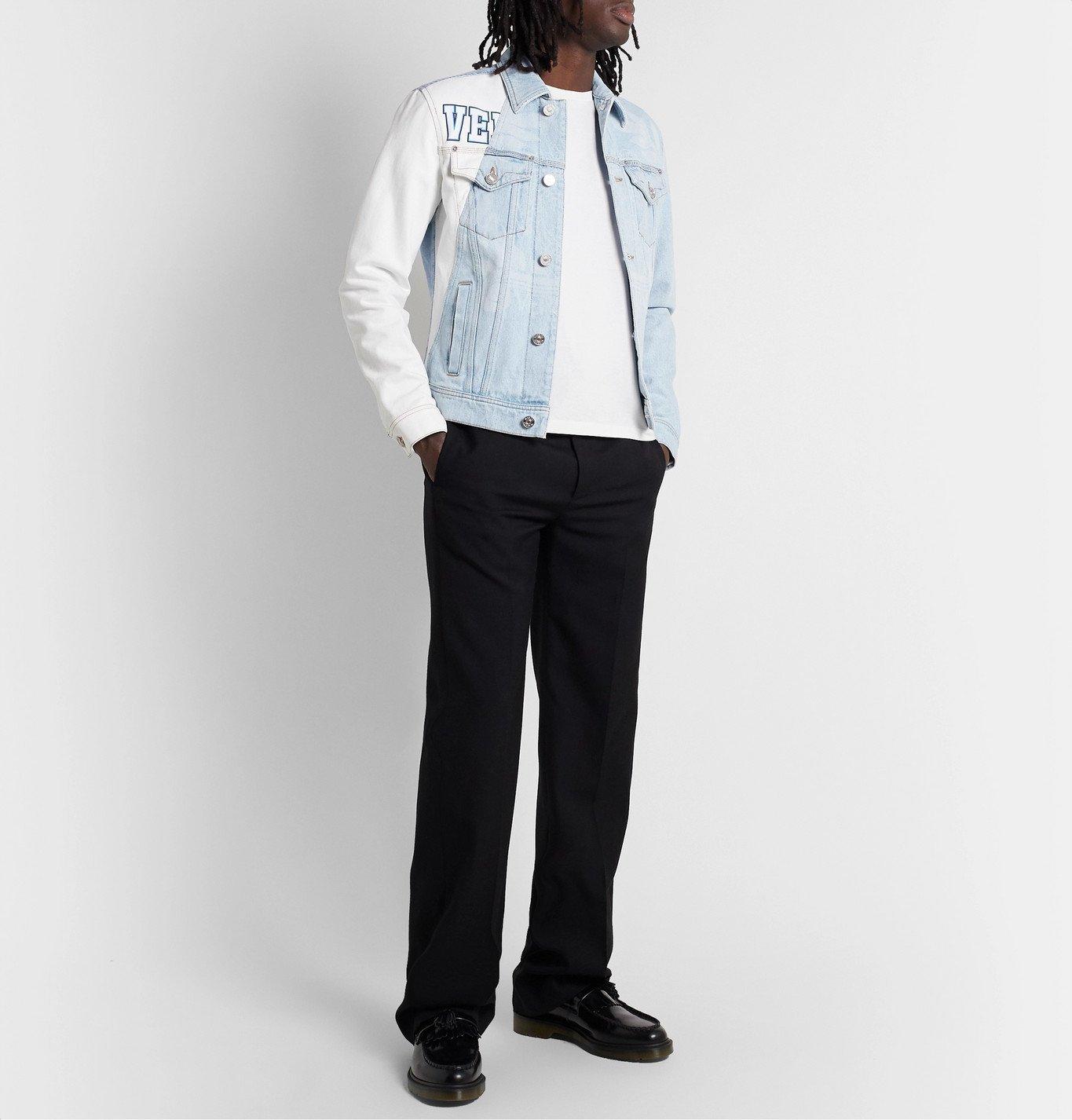 Versace - Two-Tone Printed Bleached Denim Jacket - Blue