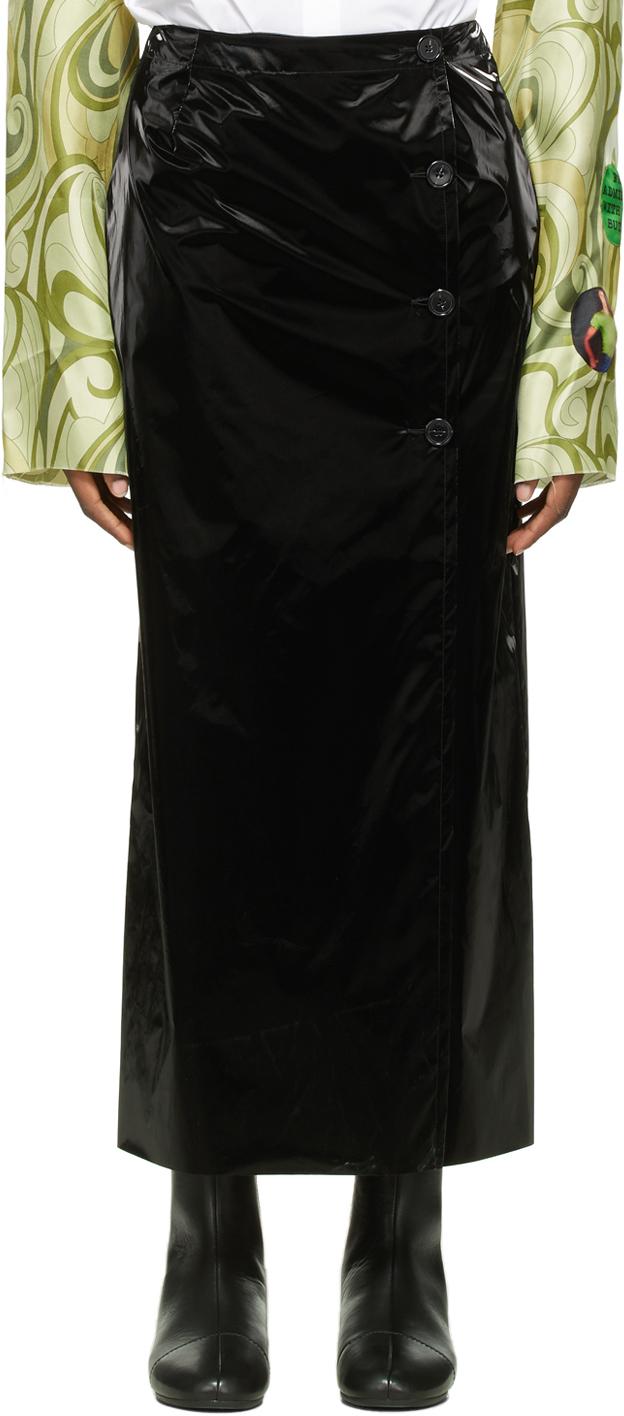 Raf Simons Black Vinyl Side Slit Skirt