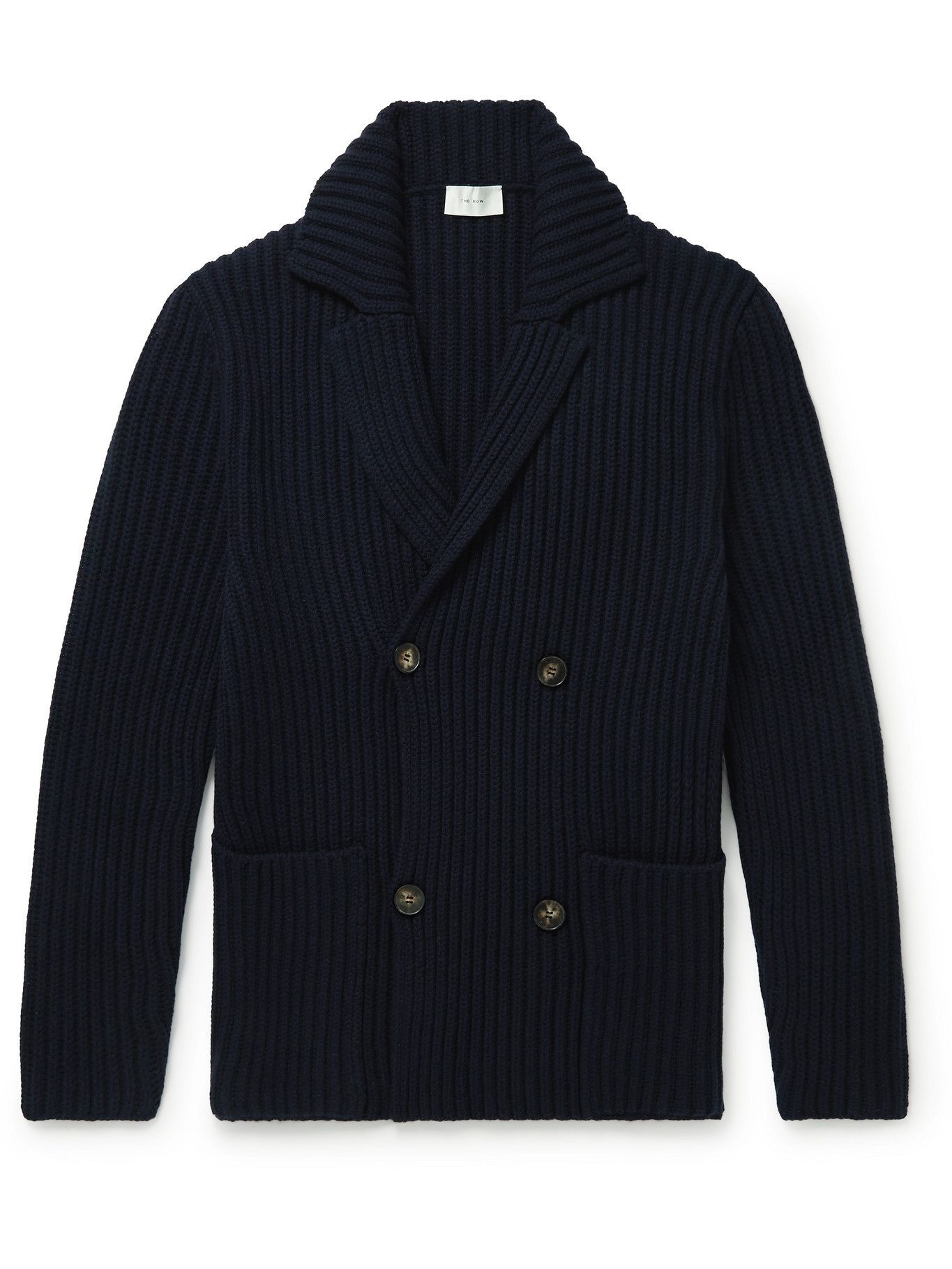 Photo: The Row - Double-Breasted Ribbed Merino Wool and Cashmere-Blend Cardigan - Blue