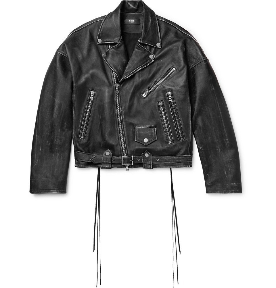 Photo: AMIRI - Cropped Distressed Leather Biker Jacket - Black