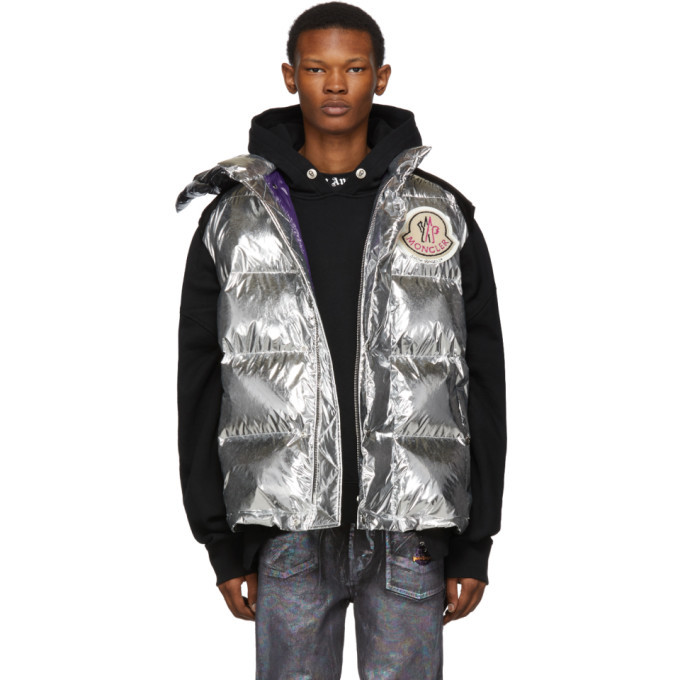 Photo: Moncler Genius 8 Moncler Palm Angels Silver Down Exen Vest