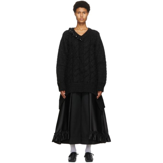 Photo: Simone Rocha Black Cable Knit V-Neck Sweater