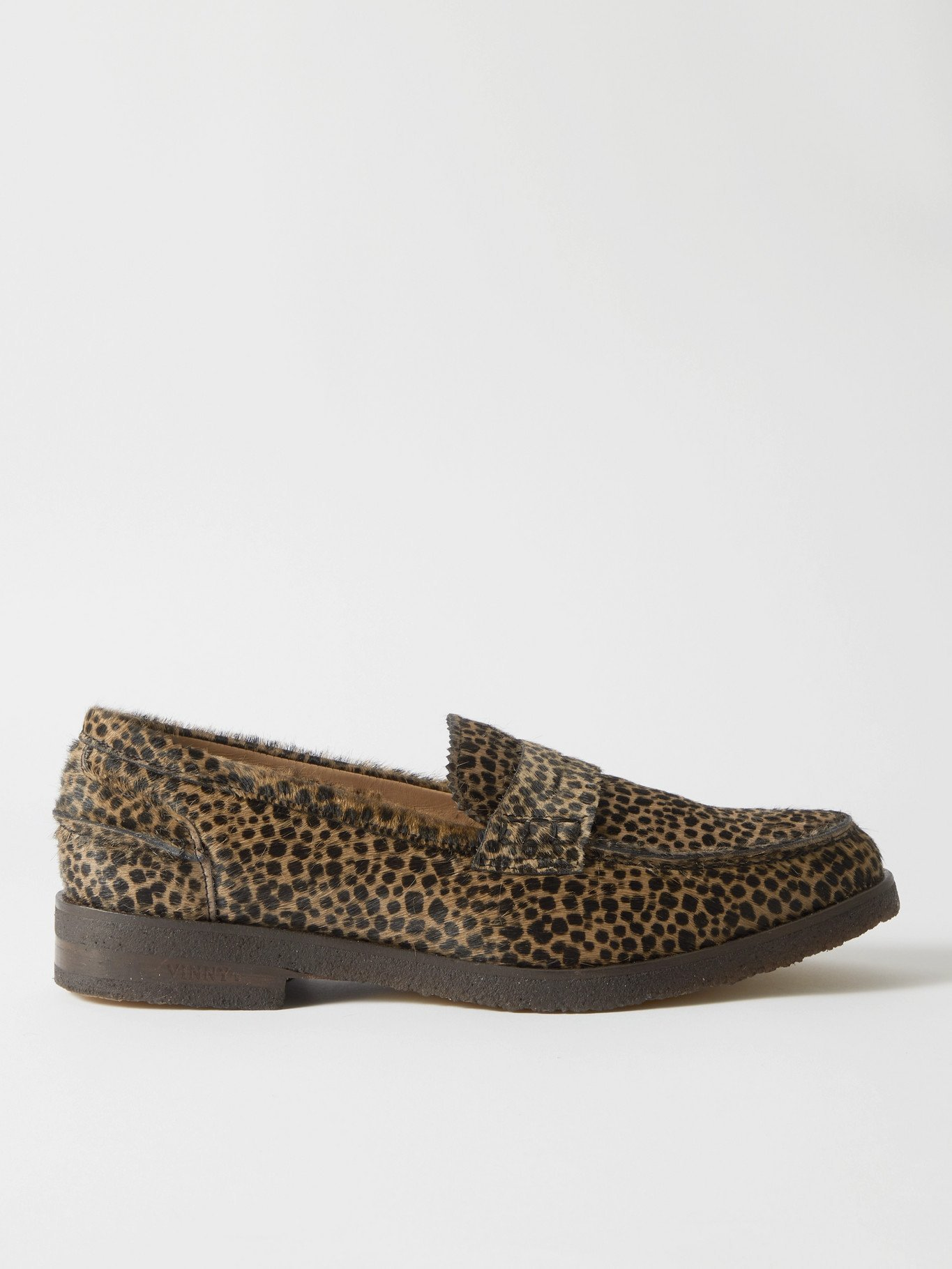 Photo: VINNY'S - Paname Leopard-Print Calf Hair Penny Loafers - Brown - EU 40