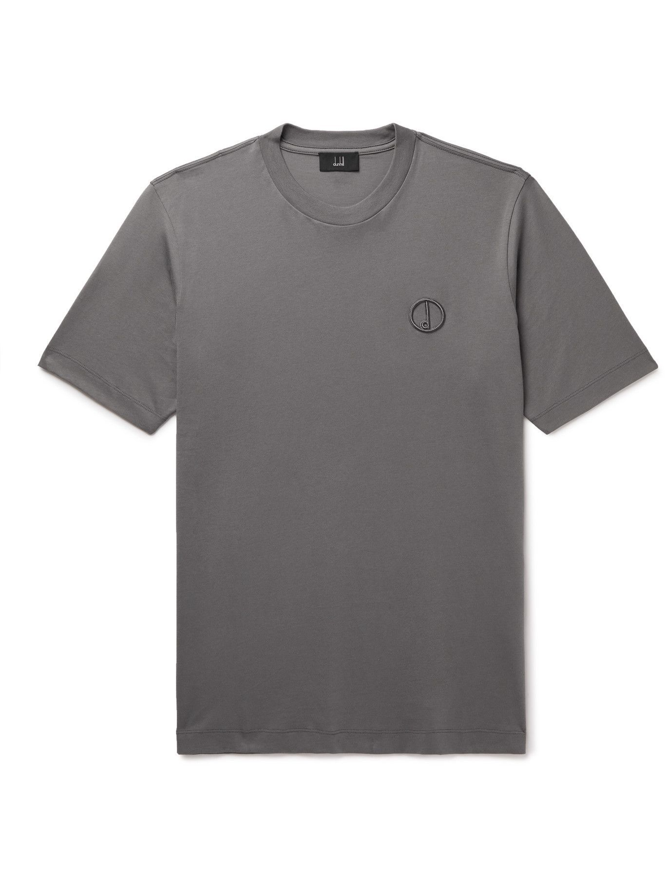 Photo: DUNHILL - Logo-Embroidered Cotton-Jersey T-Shirt - Gray