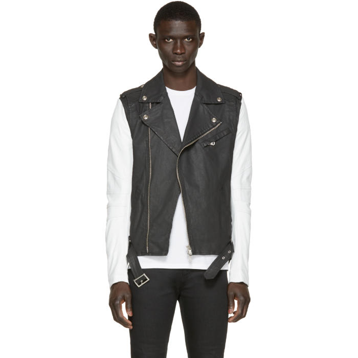 Photo: Pierre Balmain Black Denim and Leather Biker Jacket