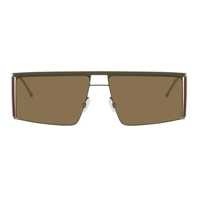 Photo: Helmut Lang Green and Yellow Mykita Edition HL001 Sunglasses