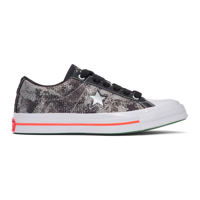 Photo: Converse Black and Silver Sad Boys One Wish Edition One Star Sneakers