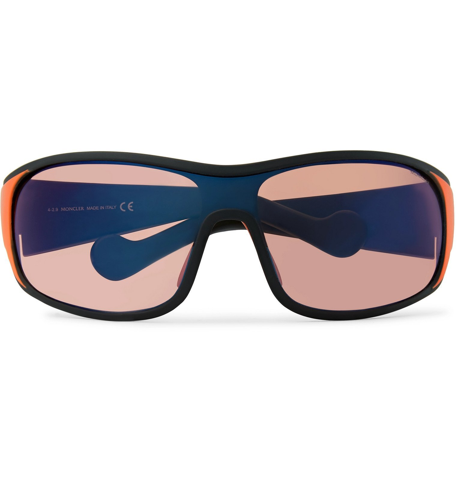 Photo: Moncler - Wrap-Frame Polarised Acetate Sunglasses - Red