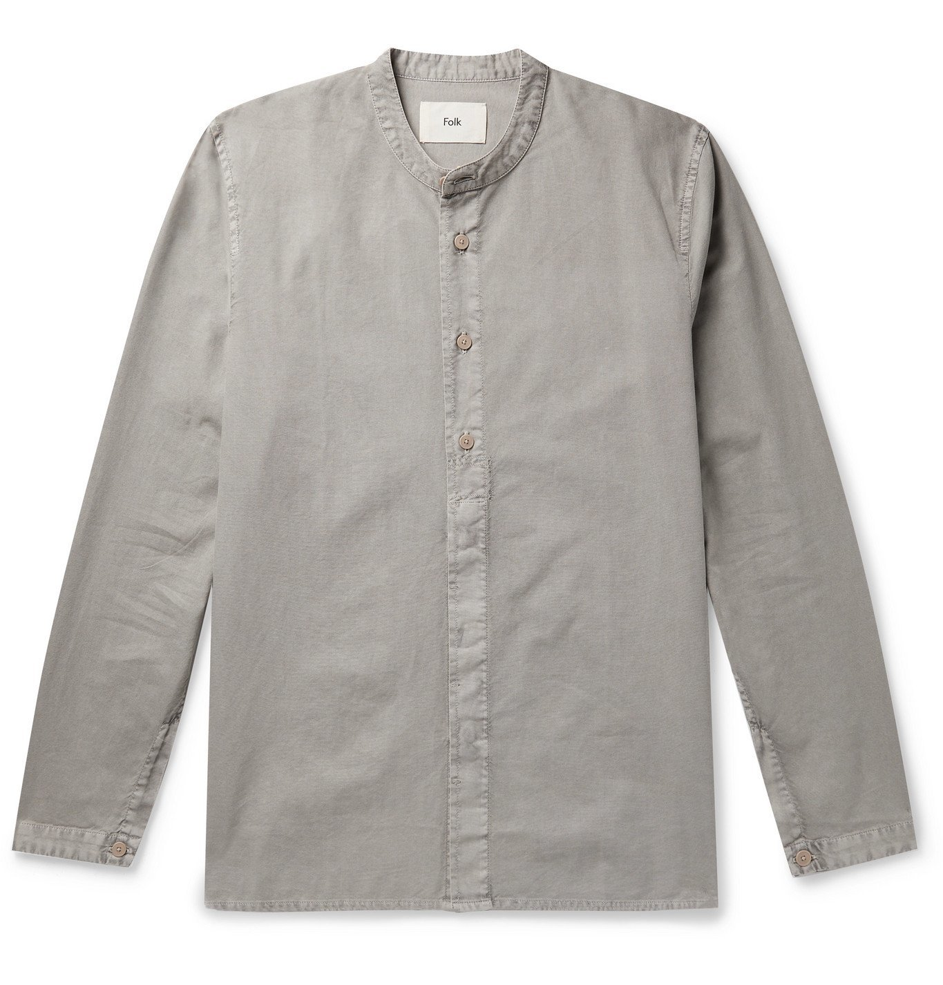 Photo: Folk - Grandad-Collar Pigment-Dyed Cotton Shirt - Green