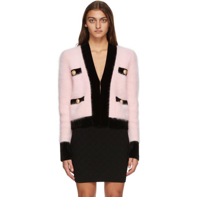 Photo: Balmain Pink and Black Velvet Trimmed Jacket