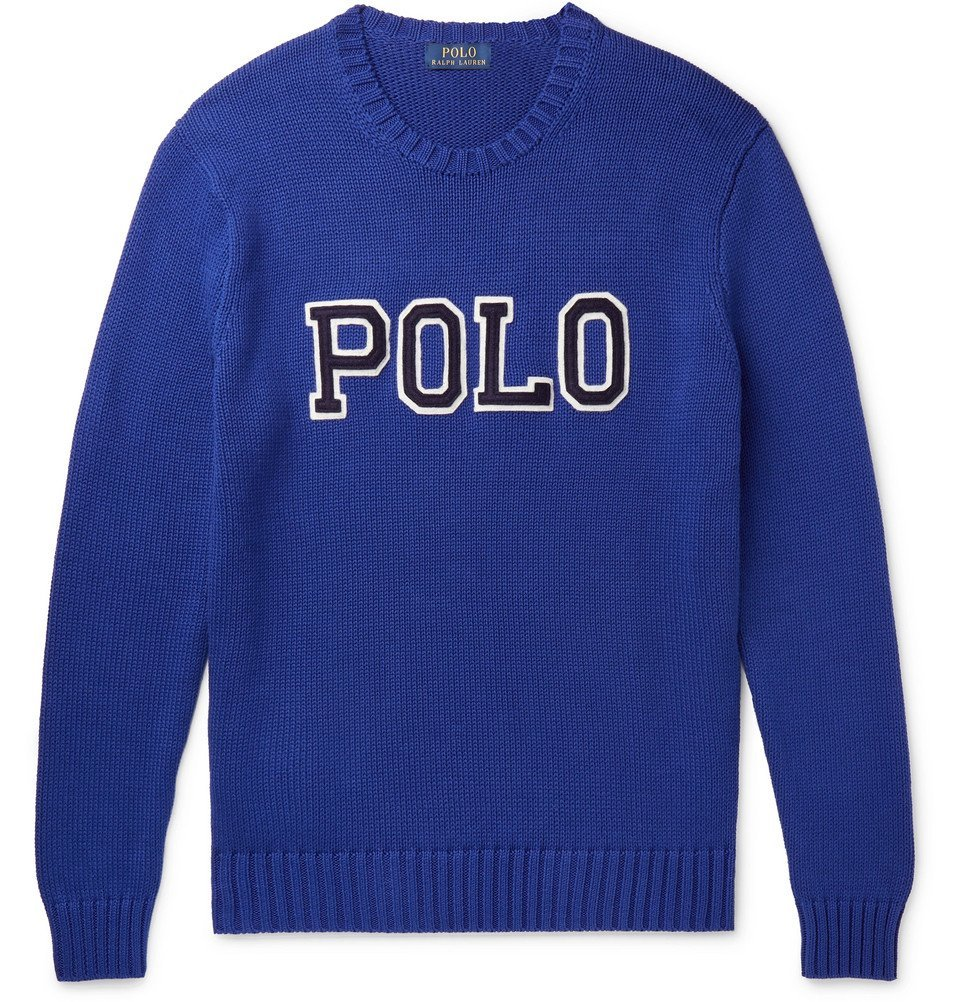 Photo: Polo Ralph Lauren - Logo-Appliquéd Cotton Sweater - Blue