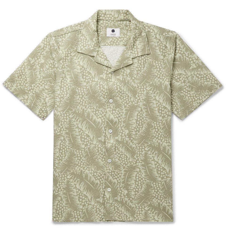 Photo: NN07 - Camp-Collar Printed Stretch-Cotton Seersucker Shirt - Green