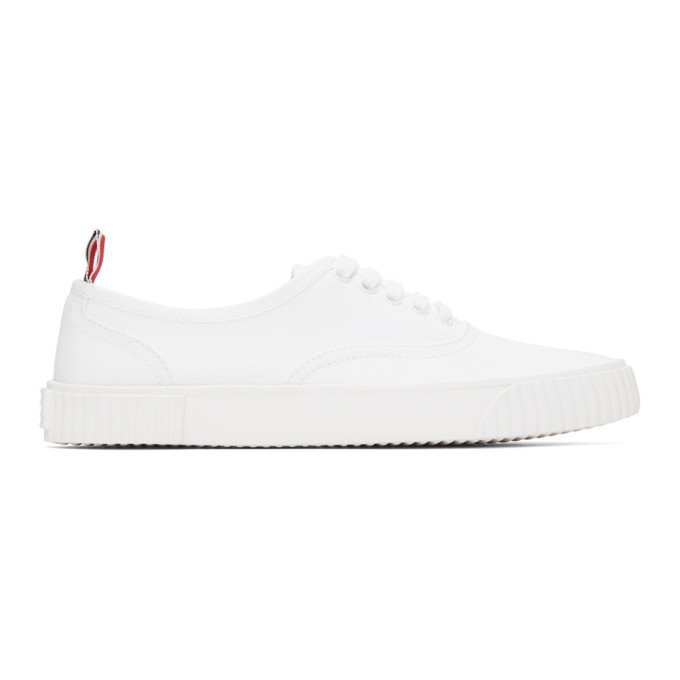 Photo: Thom Browne White Canvas Vulcanized Sneakers