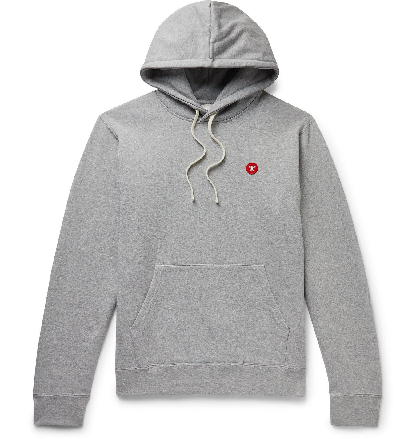 Photo: Wood Wood - Ian Logo-Appliquéd Mélange Fleece-Back Cotton-Jersey Hoodie - Gray