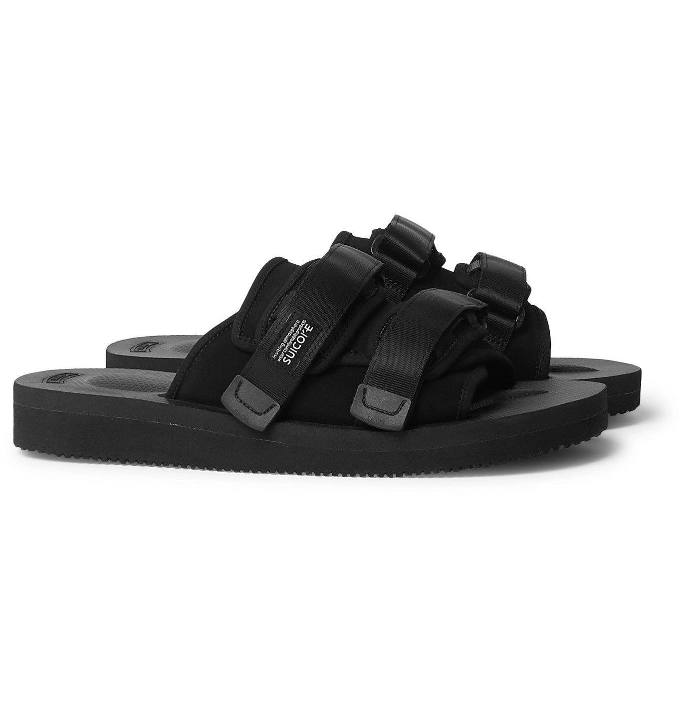 Photo: Suicoke - Moto-VS Webbing-Trimmed Suede Sandals - Black