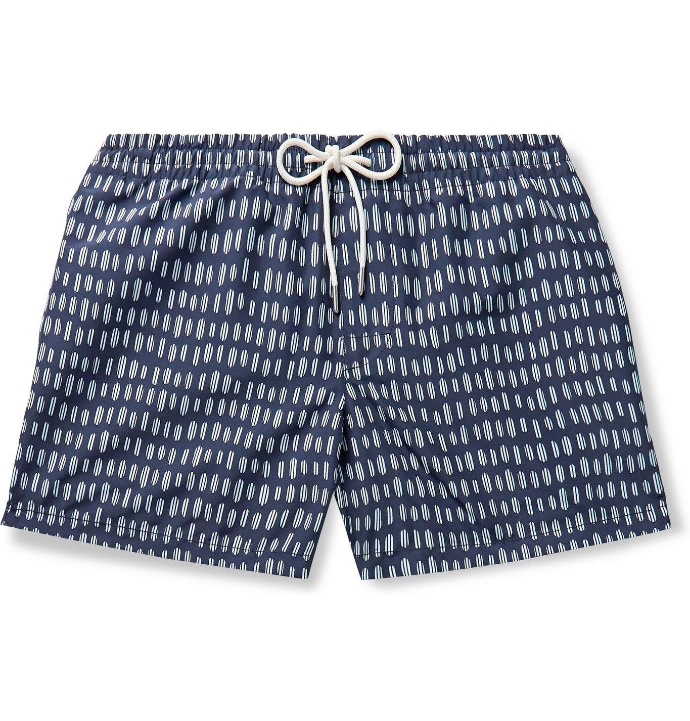 Photo: Club Monaco - Arlen Slim-Fit Short-Length Printed Swim Shorts - Blue
