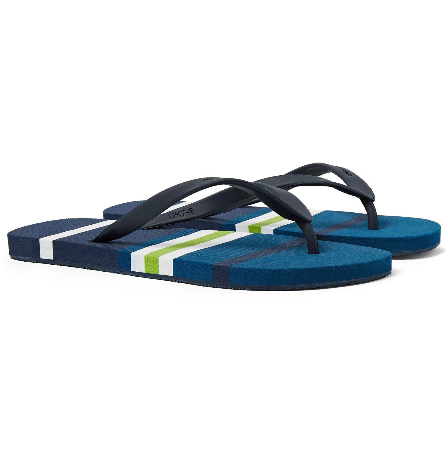 Photo: Orlebar Brown - Haston Striped Rubber Flip Flops - Blue