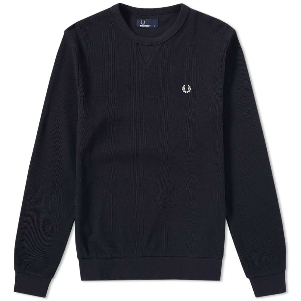 Photo: Fred Perry Waffle Crew Sweat Blue