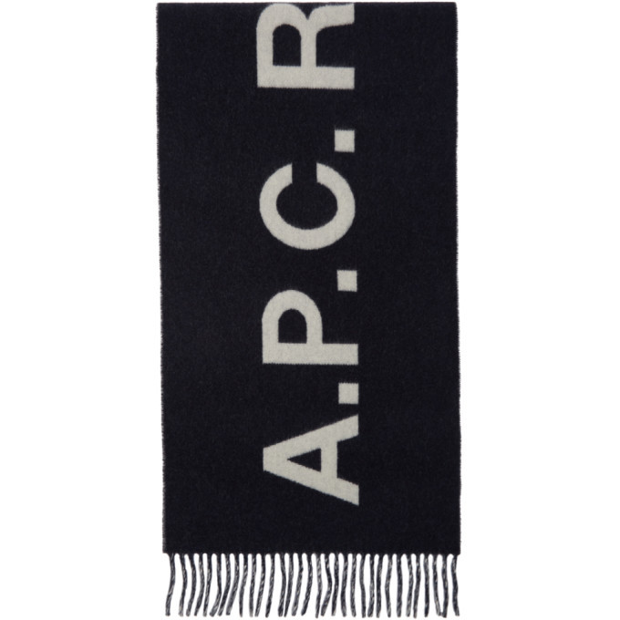 Photo: A.P.C. Navy and White Angele Scarf
