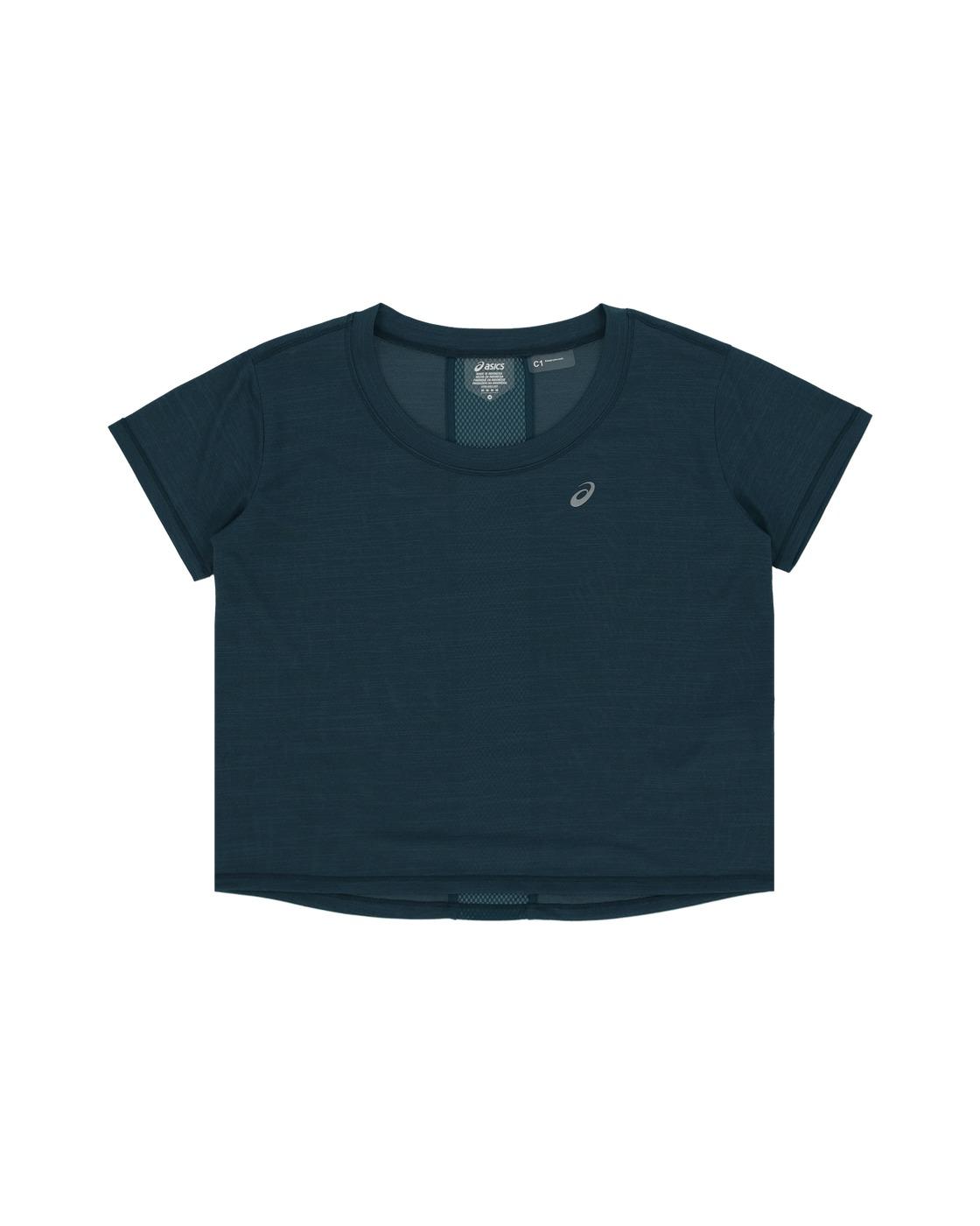 Asics Race Crop T Shirt Magnetic Blue