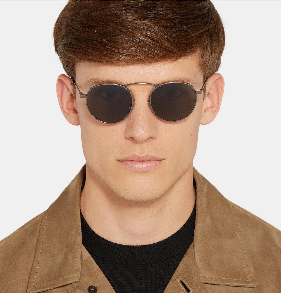 Ermenegildo Zegna - Round-Frame Gunmetal-Tone Sunglasses - Gunmetal