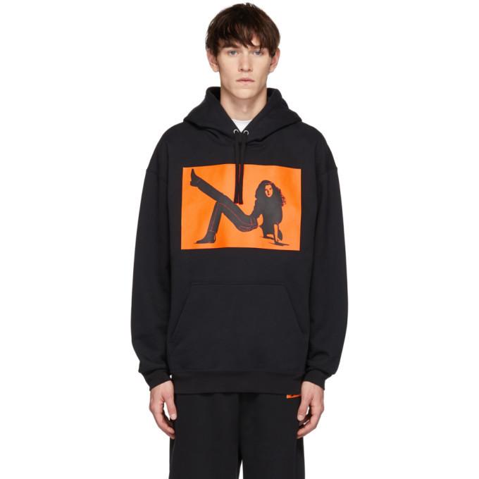 Photo: Calvin Klein Jeans Est. 1978 Black and Orange Icon Printed Hoodie