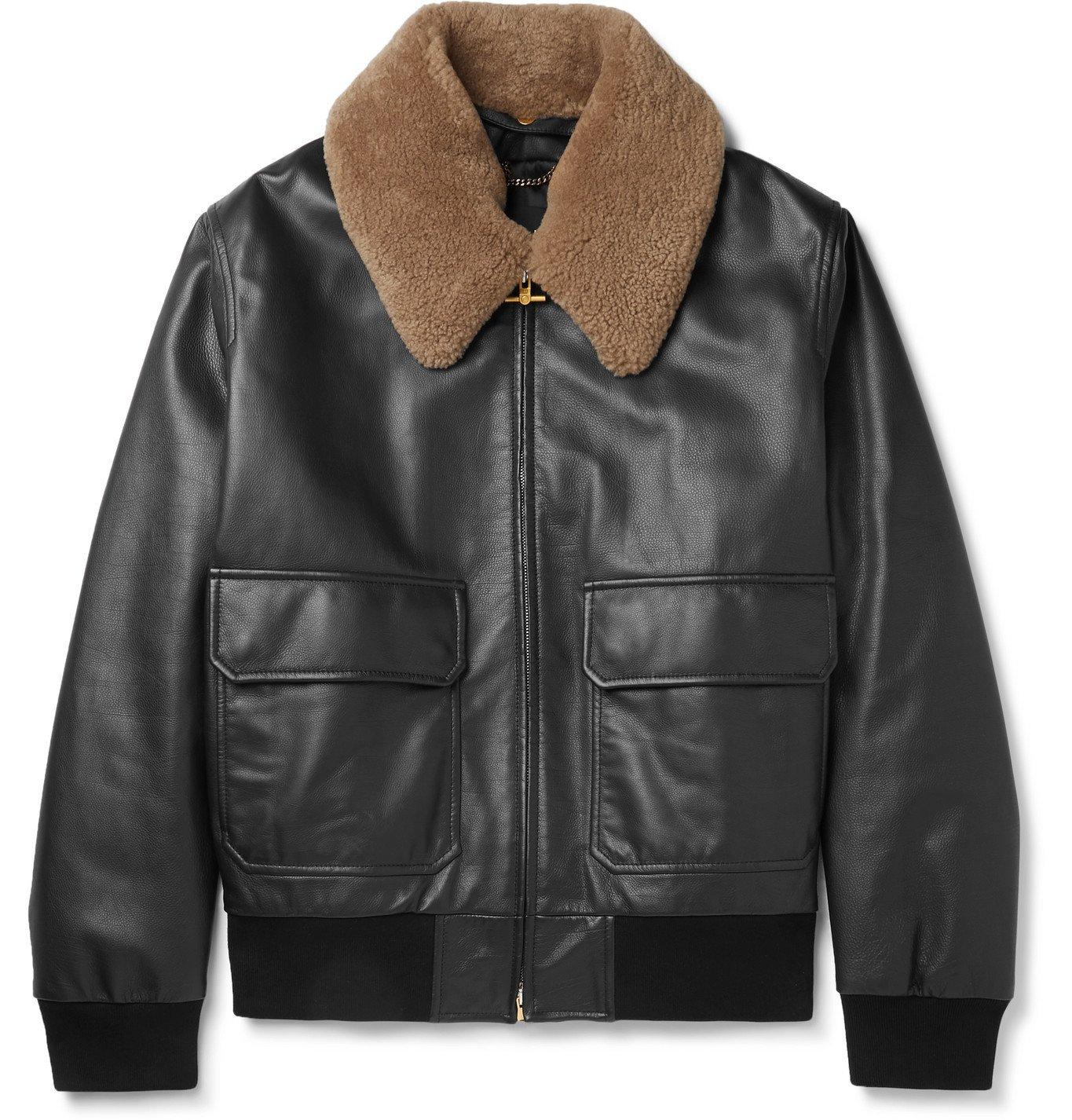 Dunhill - Shearling-Trimmed Leather Bomber Jacket - Black