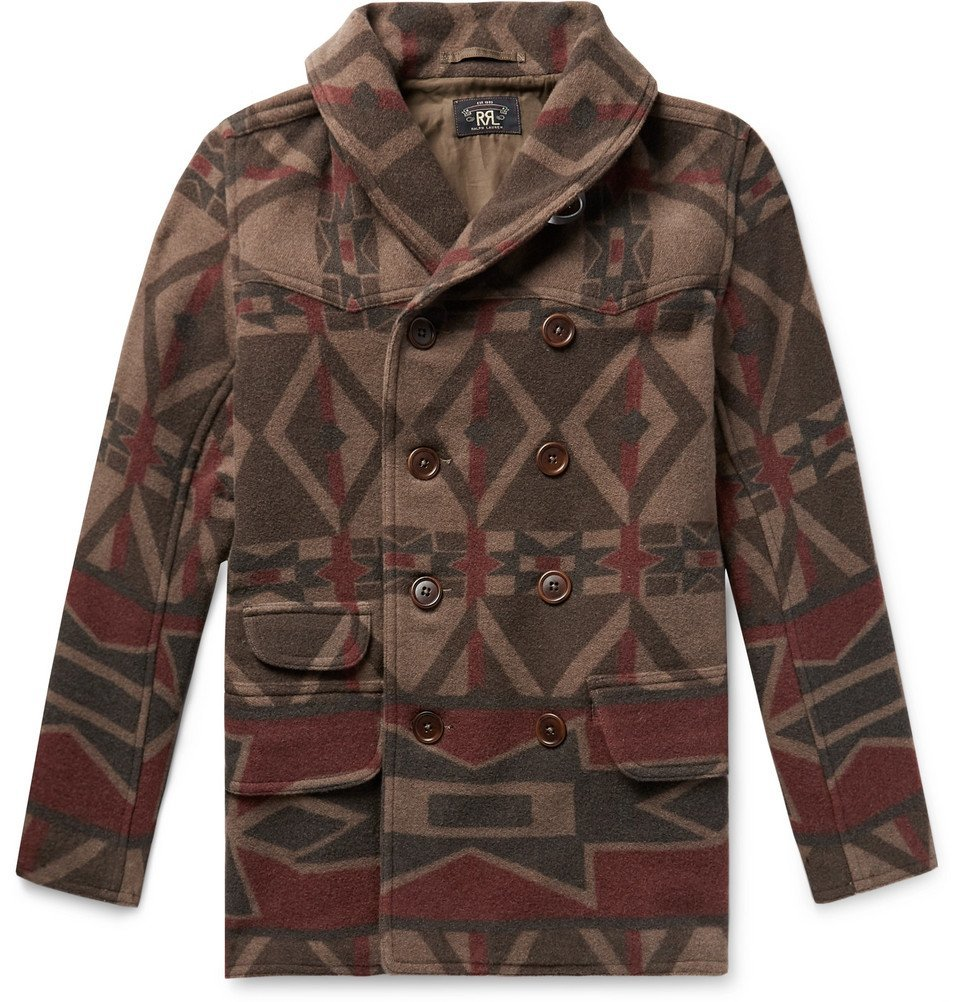 RRL - Ramsey Shawl-Collar Double-Breasted Printed Wool-Blend Coat - Men - Brown