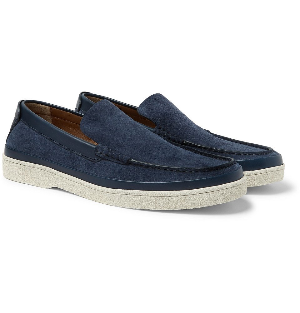 Leather-Trimmed Suede Loafers