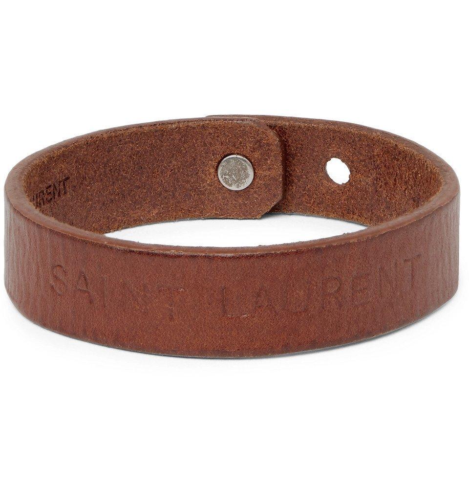 Photo: Saint Laurent - Embossed Leather Bracelet - Brown